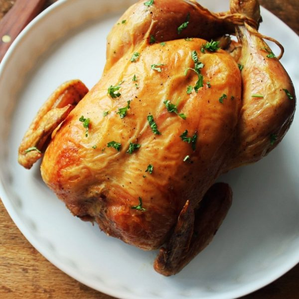 rotisserie style hot cooked chicken